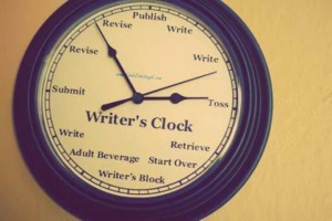 purple writer's clock