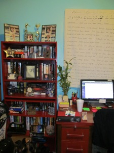 "My red bookcase, and the curtain I wrote the lyrics to ""our song"" on for my husband."