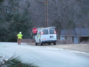 Duke Energy guy waiting to see that the power was turned back on in my neighborhood in South Carolina. #WinterMess