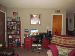 Red bookcases and desk go well with our updated look.