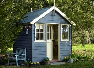 blue writing shed